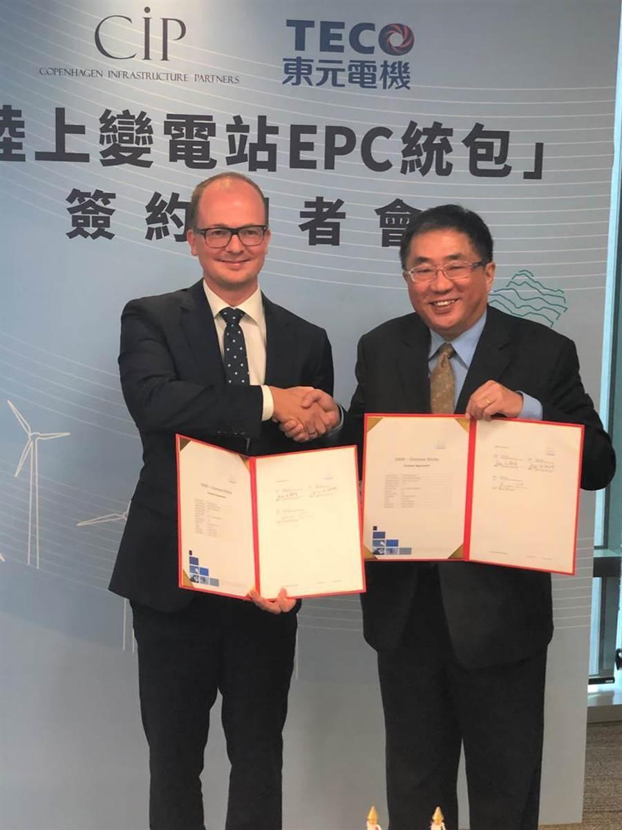 (左)丹麦哥本哈根基础建设基金台湾区执行长侯奕恺,(右)东元总经理连昭志。图/沈美幸