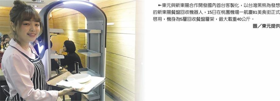 东元与新东阳合作开发国内首台客製化,以台湾黑熊为发想的新东阳餐盘回收机器人,15日在桃园机场一航厦B1美食街正式启用,机身为5层回收餐盘层架,最大载重40公斤。图/东元提供